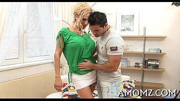 Red sexy mom craves for orgasm