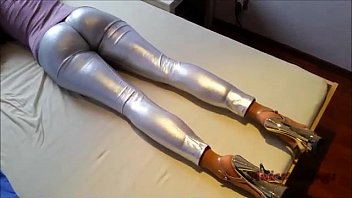 ANIA in Silver Leggings  Gloves  High Heels
