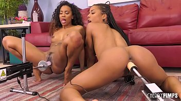 College chick sex machine Ebony lesbians enjoying oral sex in live show before fucked by sex machines