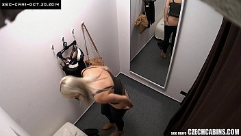 Busty Blonde Changing Bra In Store
