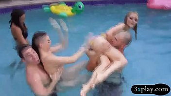 Hotties pool blowjob and fucked with nasty guys in orgy