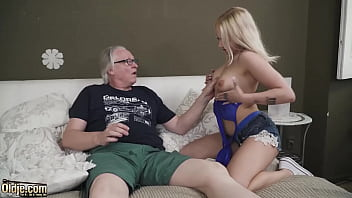Blonde shows how to ride an old cock and take a facial cumshot