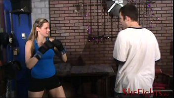 Kicking belly femdom punching Cassidy brutally beats dominates army guy - brutality with smile