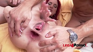 Squirting nymph Lyen Parker in rough 5on1 DP & her first DAP