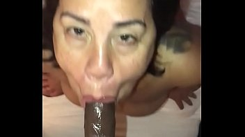 Facial milf slut Latina milf gives sloppy bj facial