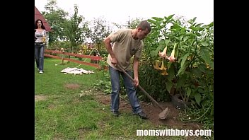 Sex for a boy Cock hungry mom fucks her young gardener outdoors