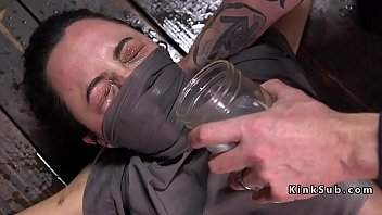 Naked male water torture Slave on the floor gets water torment
