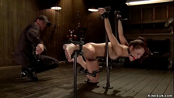 Brunette slave whipped and zappered