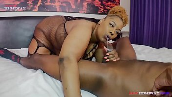 Slim Slink Andrews takes his huge dick and unloads a bucket of cum all over a chubby Coco Santiago braces on BBWHighway
