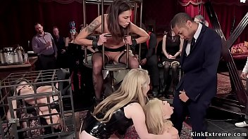 Interracial anal group sex at bdsm party