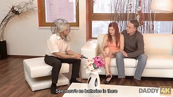 Streaming Video DADDY4K. Slutty ginger makes love to gentleman at her grandpa ages - XLXX.video
