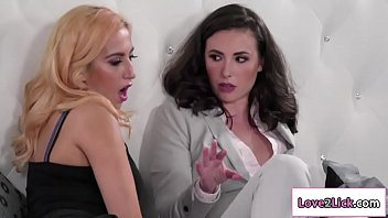 Sales agent licked by lesbian client