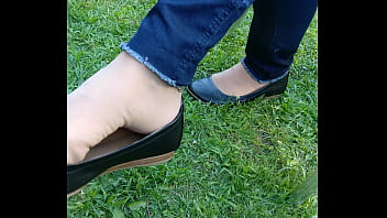 shoeplay and dipping with tan nylons and flats