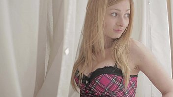 Beautiful czech teen in curtains