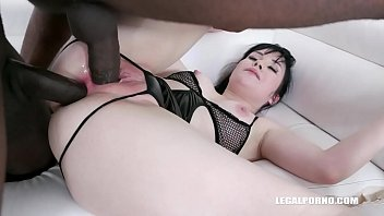 Sweet Angelina first ever interracial anal &amp_ DP IV255