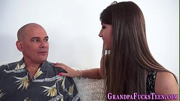 Teen blows grandpas cock