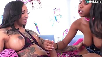 Ebony Shemale And Girl Having Fun