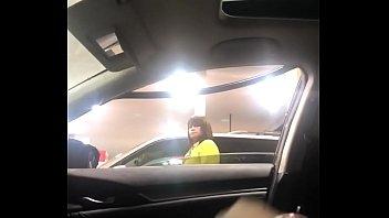 Flashing black dick to milf gas station