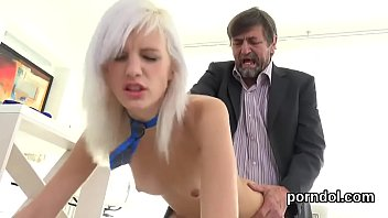 Cute schoolgirl was seduced and drilled by her elder mentor