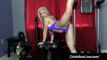 Super Latina Cristi Ann Works Out in 70's Getup & Gets Wild!