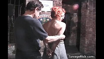 Weird redhead Jayne gets tied and ass