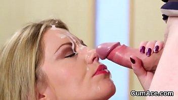 Slutty idol gets cum shot on her face swallowing all the spunk