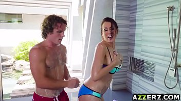 Horny stepmom Reagan Foxx hot fuck in the shower