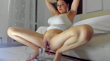Busty Slut Squirting In Glass