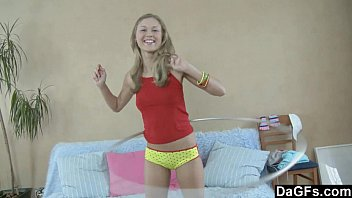 Sweet teen doing Exercises before stiptease