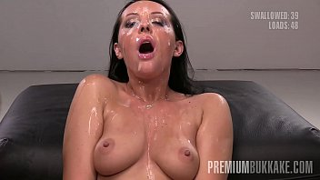 Premium Bukkake - Carolina Vogue swallows 67 huge mouthful cumshots
