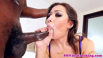 Cocksucking asian babe chokes on two dicks