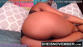HD Tiny Waist Big Hips African American Cosplay Model Msnovember Laying Sideways Poking Her Thick Ass Out In Black Thong On Live Webcam Cam Show