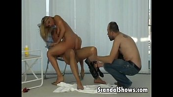 Blonde hottie rides a hard fat cock