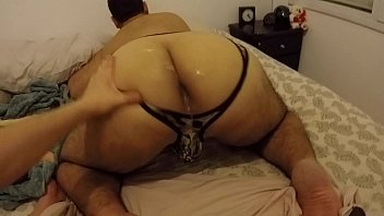 Big ass playing with huge black cock, milky ass