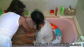 Amateur teens in thongs bathroom