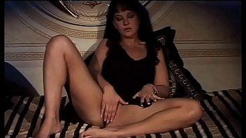 Hot filth brunette provokes two men fingering her wet