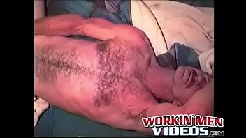 Gay mature old Hairy old guy with mustache plays with his boner all alone