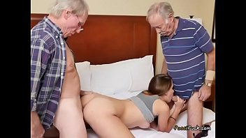 Teen Naomi Alice Gets Spit Roasted By Old Men