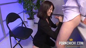 Japanese secretary blow job Jav secretary blowing big dick at work - more at pornchicki.com