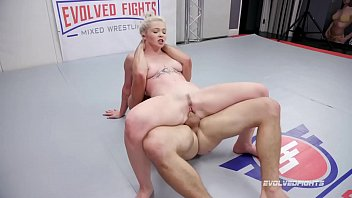Mixed Nude Wrestling Fight Kay Carter Fucked Roughly by Nathan Bronson in the ring