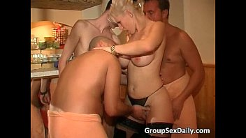 Hot and heavy bar club group sex banging