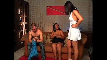 Latina MILF and hot shemale take turns sucking hunk'_s dick
