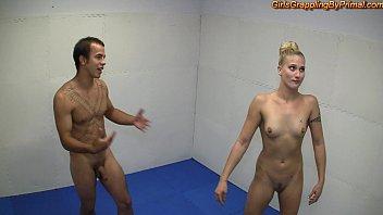 Girls wrestling boys for domination Naked domination wrestling