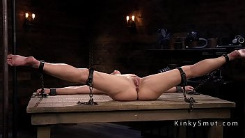 Small tits strapped slave whipped
