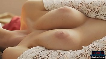 Amazing big boobs European MILF Katey enjoys a coffee
