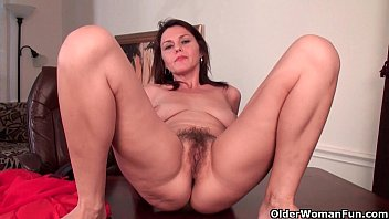 Mature hairy wife - Sexy milf with big tits works her hairy pussy