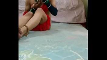 Femboy in sister'_s saree goes for double anal penetration