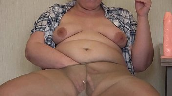 Chubby in nylon pantyhose smoked, masturbated and fucked her hairy pussy. Amateur fetish. preview image