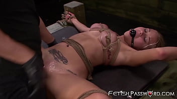 Bound blonde Bibi Miami penetrated with cock and sex machine