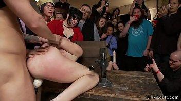 Brunette anal fucked in public disgrace